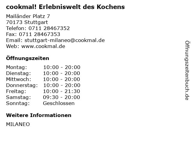 cookmal! Erlebniswelt des Kochens in Stuttgart: Adresse und Öffnungszeiten