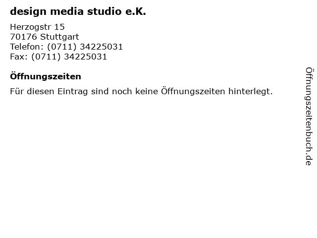 design media studio e.K. in Stuttgart: Adresse und Öffnungszeiten