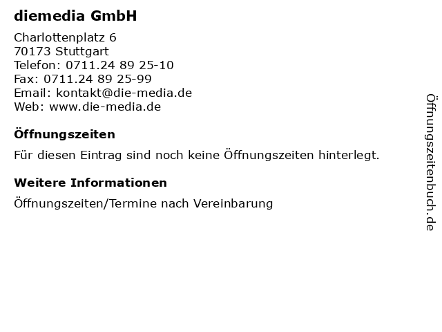 diemedia GmbH in Stuttgart: Adresse und Öffnungszeiten
