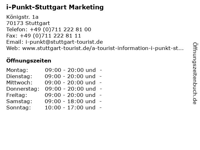 i-Punkt-Stuttgart Marketing in Stuttgart: Adresse und Öffnungszeiten