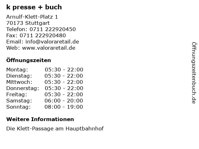 k presse + buch in Stuttgart: Adresse und Öffnungszeiten