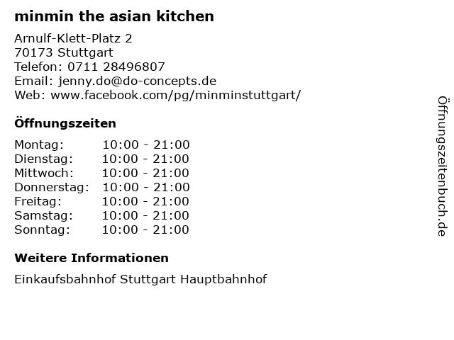minmin the asian kitchen in Stuttgart: Adresse und Öffnungszeiten