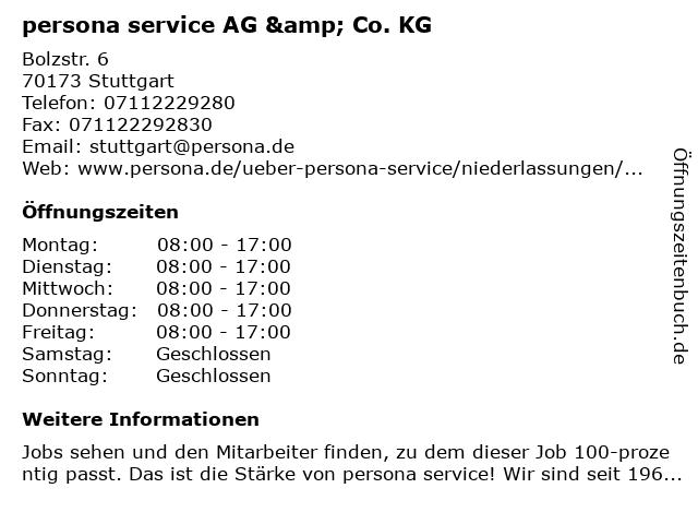 persona service AG & Co. KG in Stuttgart: Adresse und Öffnungszeiten