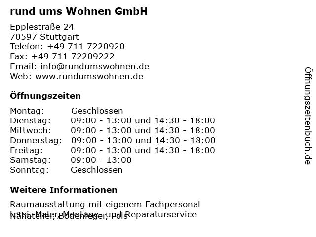 rund ums Wohnen GmbH in Stuttgart: Adresse und Öffnungszeiten