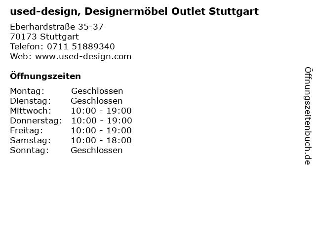 ᐅ Offnungszeiten Used Design Designermobel Outlet Stuttgart
