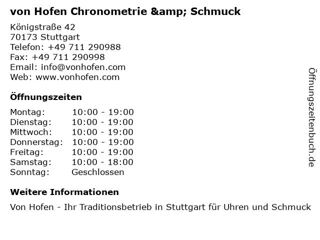 von Hofen Chronometrie & Schmuck in Stuttgart: Adresse und Öffnungszeiten