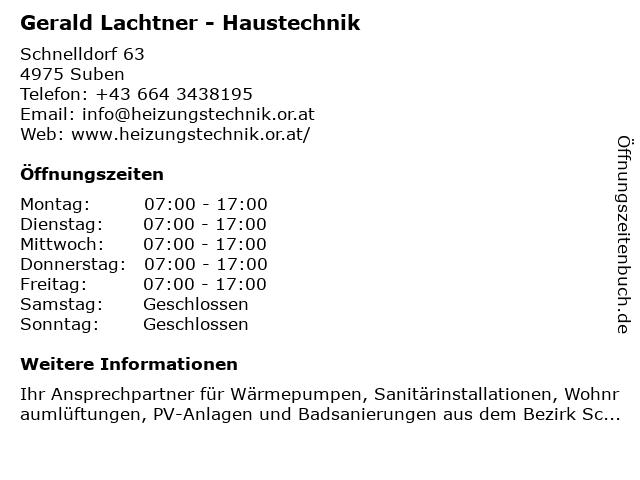 Gerald Lachtner - Haustechnik in Suben: Adresse und Öffnungszeiten