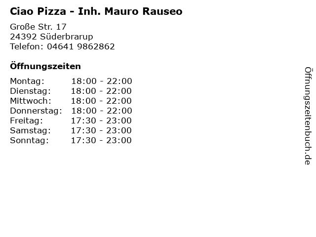 Ciao Pizza - Inh. Mauro Rauseo in Süderbrarup: Adresse und Öffnungszeiten