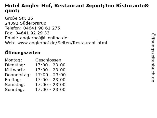 """Hotel Angler Hof, Restaurant """"Jon Ristorante"""" in Süderbrarup: Adresse und Öffnungszeiten"""