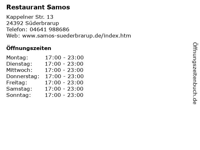 Restaurant Samos in Süderbrarup: Adresse und Öffnungszeiten