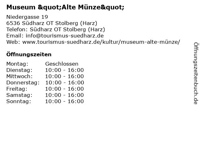 ᐅ öffnungszeiten Museum Alte Münze Niedergasse 19 In Südharz