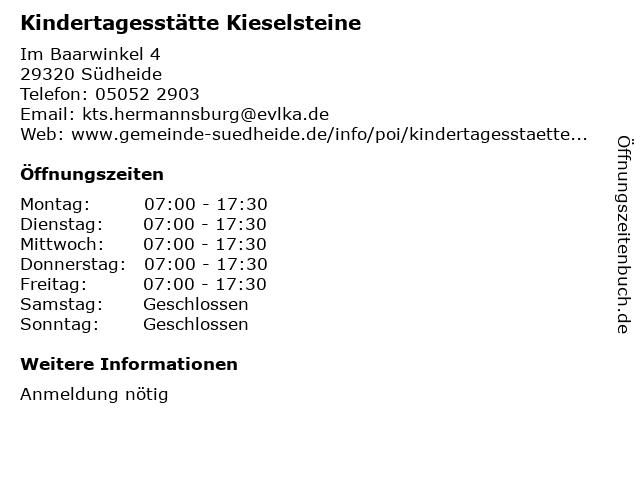Kindertagesstätte Kieselsteine in Südheide: Adresse und Öffnungszeiten