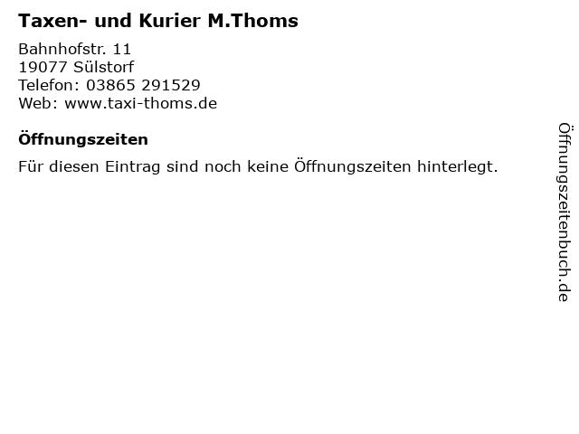 Taxen- und Kurier M.Thoms in Sülstorf: Adresse und Öffnungszeiten