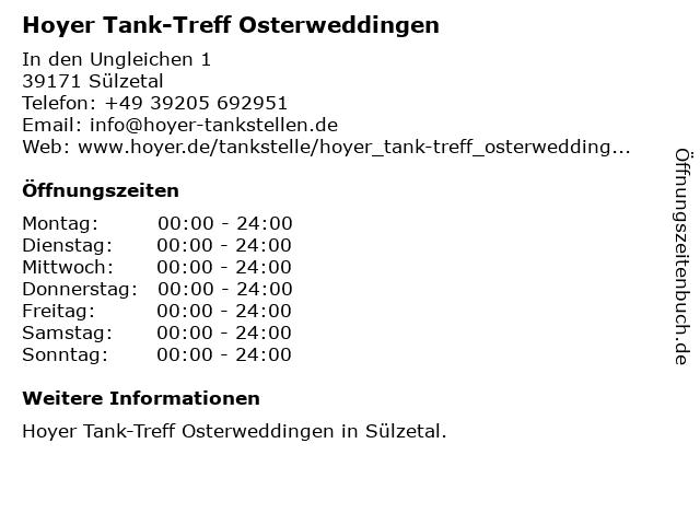 Tank-Treff in Sülzetal: Adresse und Öffnungszeiten
