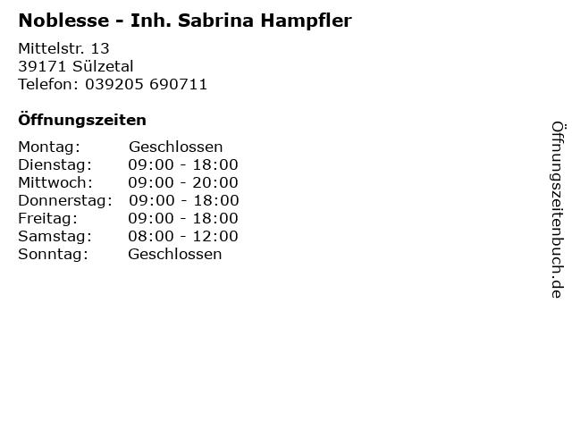 Noblesse - Inh. Sabrina Hampfler in Sülzetal: Adresse und Öffnungszeiten