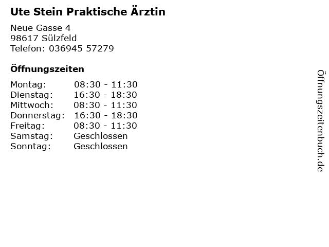 Ute Stein Praktische Ärztin in Sülzfeld: Adresse und Öffnungszeiten