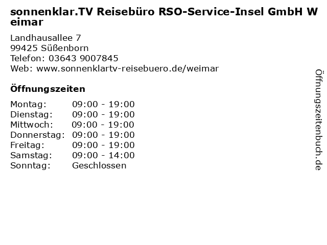 sonnenklar.TV Reisebüro RSO-Service-Insel GmbH Weimar in Süßenborn: Adresse und Öffnungszeiten