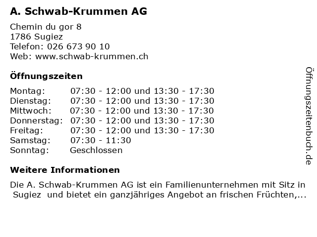 A. Schwab-Krummen AG in Sugiez: Adresse und Öffnungszeiten