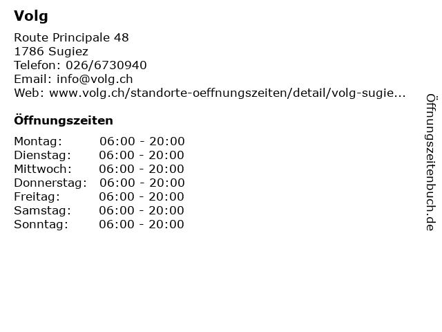 Volg in Sugiez: Adresse und Öffnungszeiten