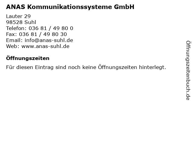 ANAS Kommunikationssysteme GmbH in Suhl: Adresse und Öffnungszeiten