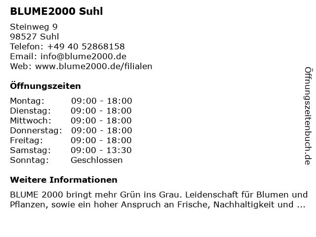 Blume 2000 in Suhl: Adresse und Öffnungszeiten