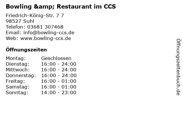 Bowling & Restaurant im CCS in Suhl: Adresse und Öffnungszeiten