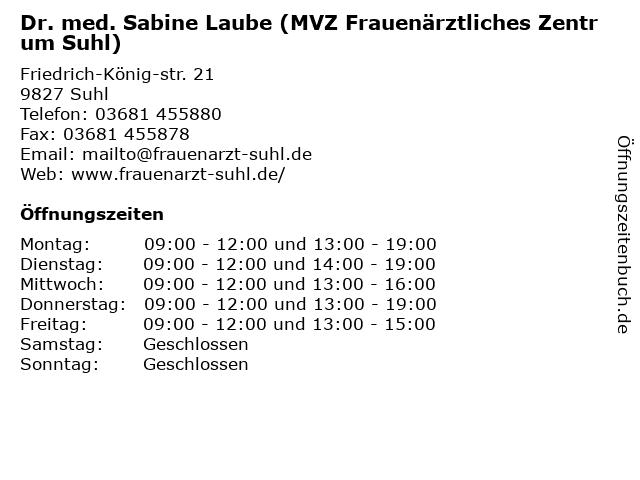 Dr. med. Sabine Laube (MVZ Frauenärztliches Zentrum Suhl) in Suhl: Adresse und Öffnungszeiten