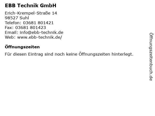 EBB Technik GmbH in Suhl: Adresse und Öffnungszeiten