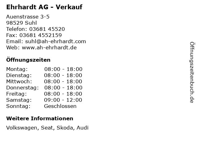 Ehrhardt AG - Verkauf in Suhl: Adresse und Öffnungszeiten