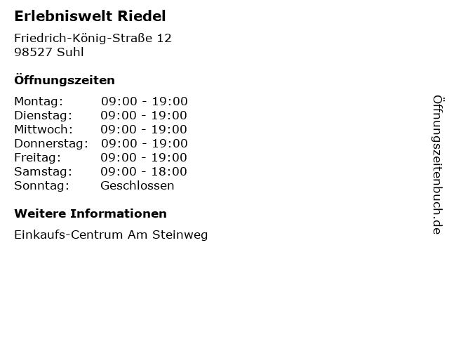 Erlebniswelt Riedel in Suhl: Adresse und Öffnungszeiten
