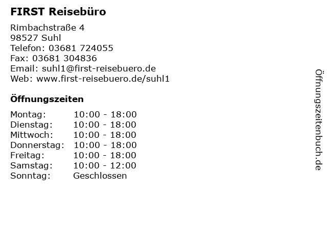 FIRST REISEBÜRO in Suhl: Adresse und Öffnungszeiten