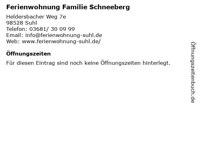 Ferienwohnung Familie Schneeberg in Suhl: Adresse und Öffnungszeiten