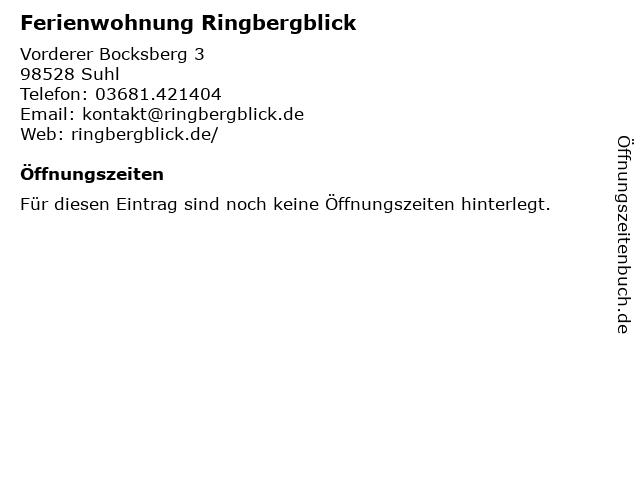 Ferienwohnung Ringbergblick in Suhl: Adresse und Öffnungszeiten