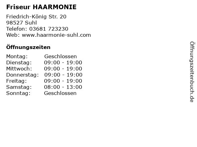 Friseur HAARMONIE in Suhl: Adresse und Öffnungszeiten