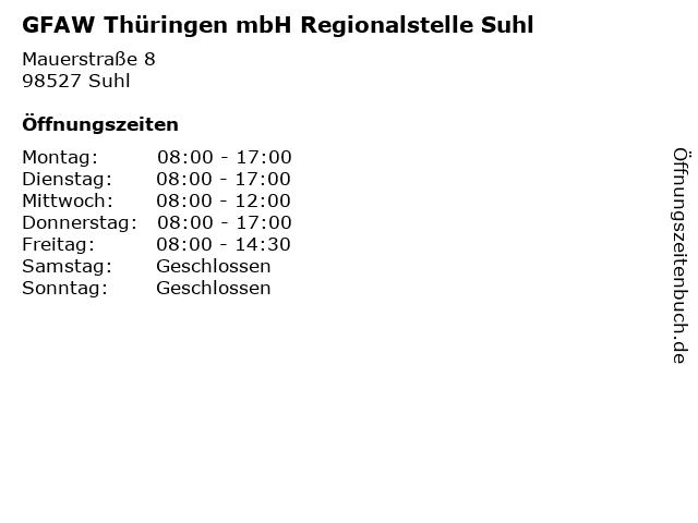 GFAW Thüringen mbH Regionalstelle Suhl in Suhl: Adresse und Öffnungszeiten