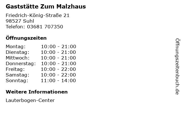 Gaststätte Zum Malzhaus in Suhl: Adresse und Öffnungszeiten