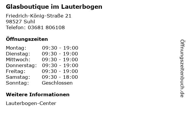 Glasboutique im Lauterbogen in Suhl: Adresse und Öffnungszeiten