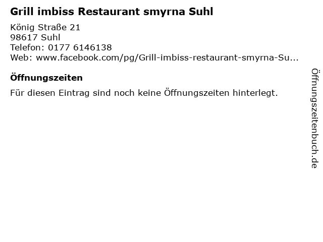 Grill imbiss Restaurant smyrna Suhl in Suhl: Adresse und Öffnungszeiten