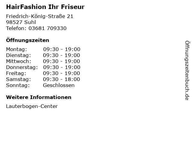 HairFashion Ihr Friseur in Suhl: Adresse und Öffnungszeiten