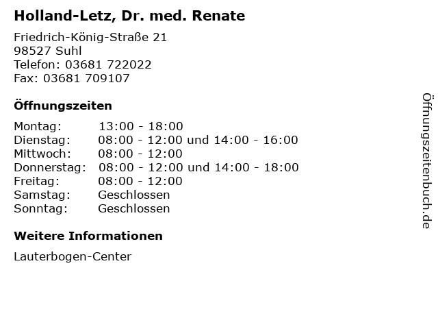 Holland-Letz, Dr. med. Renate in Suhl: Adresse und Öffnungszeiten