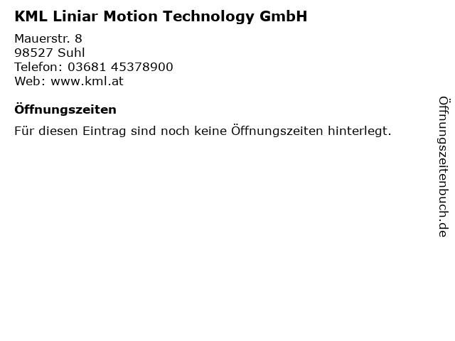 KML Liniar Motion Technology GmbH in Suhl: Adresse und Öffnungszeiten