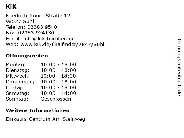 KiK Textilien & Non-Food GmbH in Suhl: Adresse und Öffnungszeiten