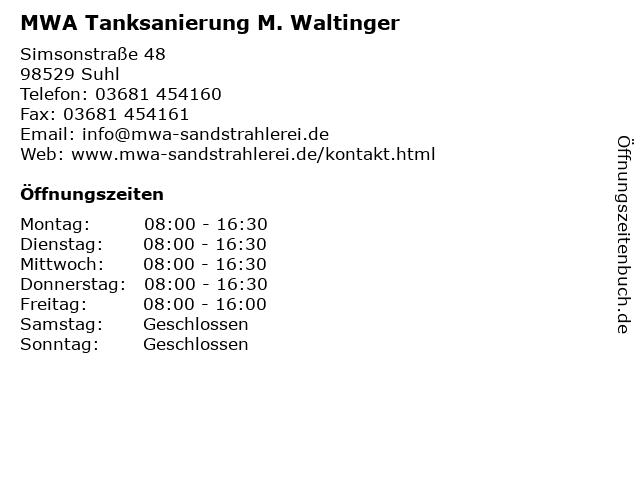 MWA Tanksanierung M. Waltinger in Suhl: Adresse und Öffnungszeiten