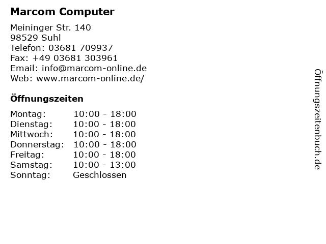 Marcom Computer, Hardware, Software in Suhl: Adresse und Öffnungszeiten