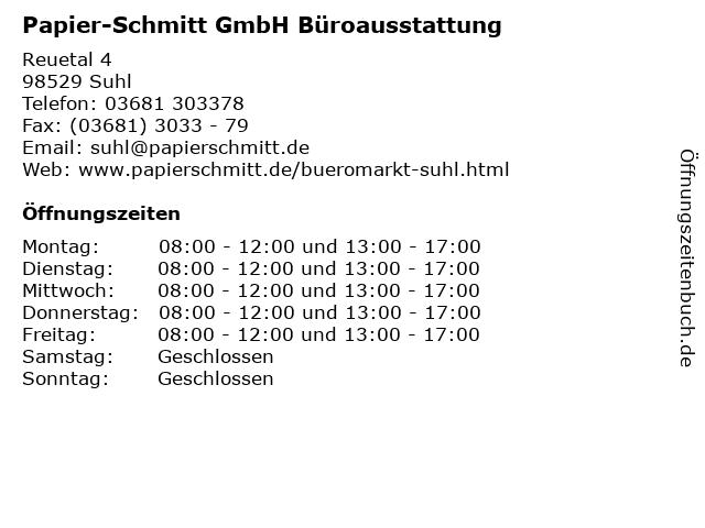 Papier-Schmitt GmbH Büroausstattung in Suhl: Adresse und Öffnungszeiten
