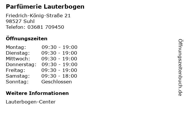 Parfümerie Lauterbogen in Suhl: Adresse und Öffnungszeiten