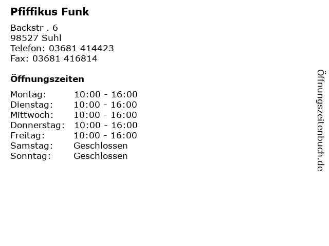 Pfiffikus Funk in Suhl: Adresse und Öffnungszeiten