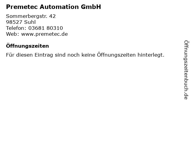 Premetec Automation GmbH in Suhl: Adresse und Öffnungszeiten
