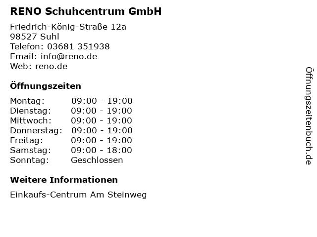 RENO Schuhcentrum GmbH in Suhl: Adresse und Öffnungszeiten