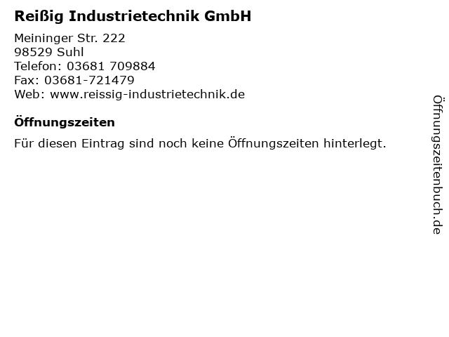 Reißig Industrietechnik GmbH in Suhl: Adresse und Öffnungszeiten